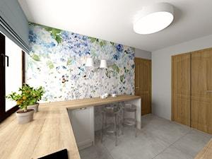 Dom na Prądniku Białym - Średnia zamknięta biała szara kolorowa kuchnia w kształcie litery u z oknem, styl prowansalski - zdjęcie od Studio FORMAT HOME