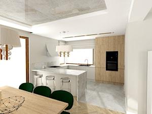 Dom pod Wieliczką 2019r. - Średnia otwarta biała szara kuchnia w kształcie litery g w aneksie z oknem, styl klasyczny - zdjęcie od Studio FORMAT HOME