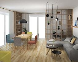 Mieszkanie w Krakowie - Duży biały salon z bibiloteczką z jadalnią z tarasem / balkonem, styl tradycyjny - zdjęcie od Studio FORMAT HOME