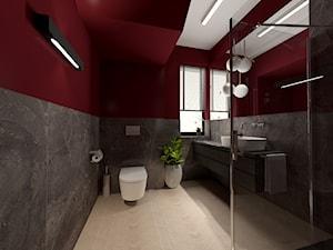 Projekt nowoczesnej łazienki - Duża czarna czerwona łazienka w bloku w domu jednorodzinnym z oknem, styl nowoczesny - zdjęcie od Studio FORMAT HOME
