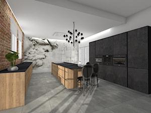 Projekt kuchni w Londynie - Duża biała beżowa kuchnia dwurzędowa w aneksie z wyspą z oknem - zdjęcie od Studio FORMAT HOME