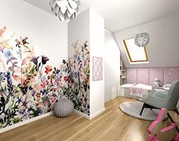 Pokój dla małej księżniczki - Duży biały szary pokój dziecka dla dziewczynki dla ucznia dla malucha, styl nowoczesny - zdjęcie od Studio FORMAT HOME
