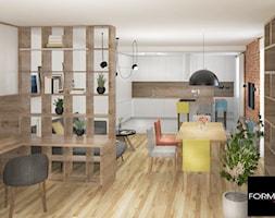 Mieszkanie w Krakowie - Średni biały salon z bibiloteczką z kuchnią z jadalnią, styl tradycyjny - zdjęcie od Studio FORMAT HOME