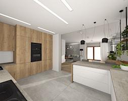 Dom w Michałowicach - Duża otwarta biała szara kuchnia w kształcie litery g w aneksie, styl nowocze ... - zdjęcie od Studio FORMAT HOME - Homebook