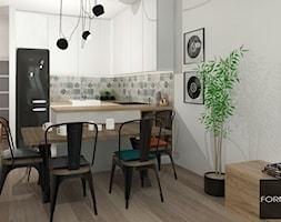 Mieszkanie ludzi z pasją - Mała otwarta szara kuchnia w kształcie litery u w aneksie, styl industrialny - zdjęcie od Studio FORMAT HOME