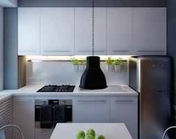 cegła w roli głównej - Średnia otwarta biała szara kuchnia w kształcie litery u, styl vintage - zdjęcie od kkarchitekci