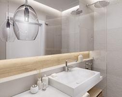 Dom pod Łodzią - Średnia biała szara łazienka bez okna, styl minimalistyczny - zdjęcie od kkarchitekci