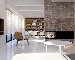 Dom w stylu skandynawskim - Mały biały salon z jadalnią, styl skandynawski - zdjęcie od kkarchitekci