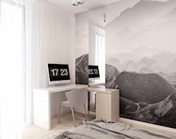 Warszawa Wola - Mała szara sypialnia dla gości, styl skandynawski - zdjęcie od kkarchitekci