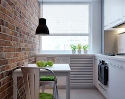 cegła w roli głównej - Mała zamknięta wąska kuchnia w kształcie litery l, styl vintage - zdjęcie od kkarchitekci