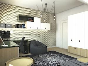 Dom w Gdańsku - Średni biały czarny pokój dziecka dla chłopca dla ucznia dla nastolatka, styl nowoczesny - zdjęcie od METEOR