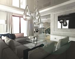Dom w Gdańsku - Duży szary salon z tarasem / balkonem, styl glamour - zdjęcie od METEOR - Homebook
