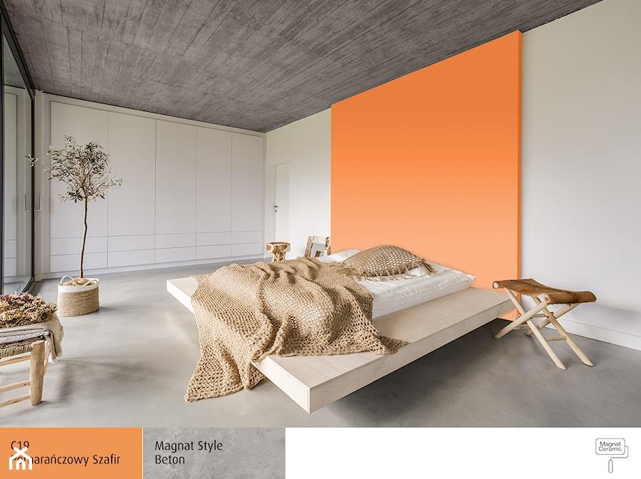 Aranżacje wnętrz - Sypialnia: Aranżacje - Duża biała pomarańczowa sypialnia dla gości, styl skandynawski - Magnat Magia Szlachetnych Barw. Przeglądaj, dodawaj i zapisuj najlepsze zdjęcia, pomysły i inspiracje designerskie. W bazie mamy już prawie milion fotografii!