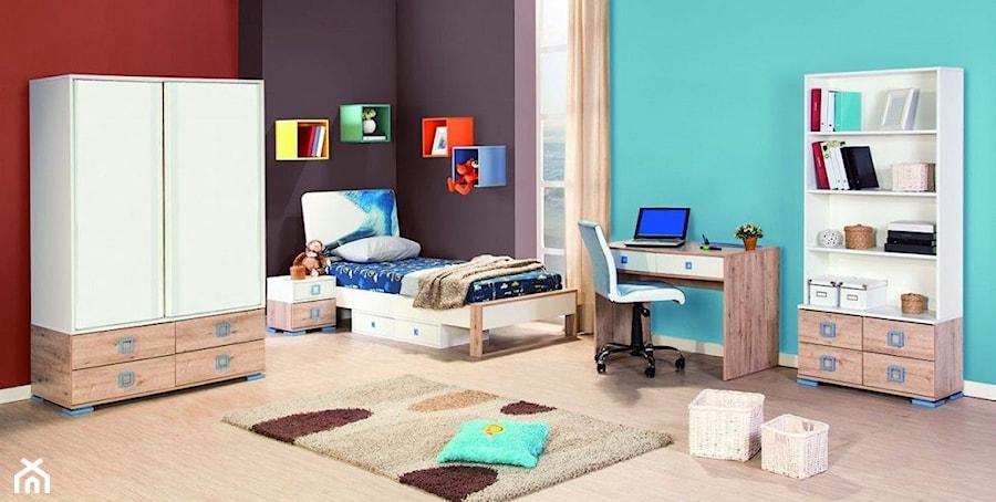 Aranżacje wnętrz - Pokój dziecka: Aranżacje - Średni niebieski czerwony czarny pokój dziecka dla chłopca dla dziewczynki dla ucznia dla malucha dla nastolatka, styl eklektyczny - Magnat Magia Szlachetnych Barw. Przeglądaj, dodawaj i zapisuj najlepsze zdjęcia, pomysły i inspiracje designerskie. W bazie mamy już prawie milion fotografii!