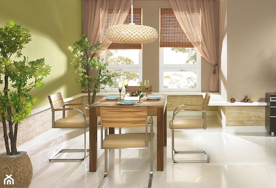 Aranżacje - Mała otwarta beżowa zielona jadalnia jako osobne pomieszczenie - zdjęcie od Magnat Magia Szlachetnych Barw