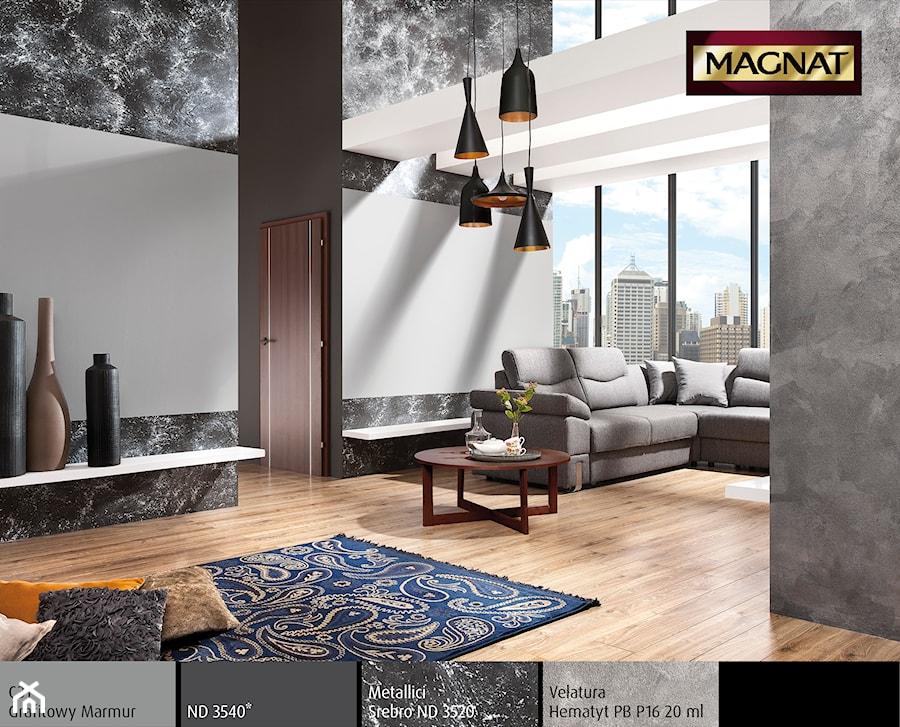 Aranżacje wnętrz - Salon: Aranżacje - Mały szary biały salon, styl eklektyczny - Magnat Magia Szlachetnych Barw. Przeglądaj, dodawaj i zapisuj najlepsze zdjęcia, pomysły i inspiracje designerskie. W bazie mamy już prawie milion fotografii!