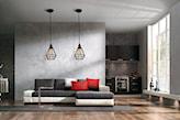 betonowa ściana w salonie w stylu nowoczesnym