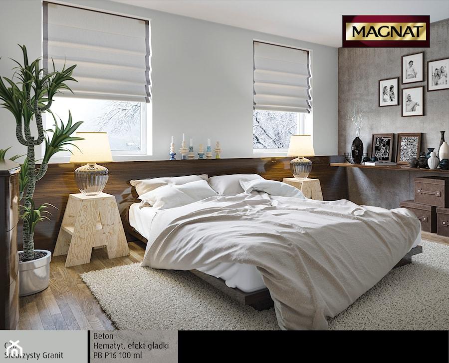 Aranżacje wnętrz - Sypialnia: Aranżacje - Średnia biała szara sypialnia małżeńska - Magnat Magia Szlachetnych Barw. Przeglądaj, dodawaj i zapisuj najlepsze zdjęcia, pomysły i inspiracje designerskie. W bazie mamy już prawie milion fotografii!