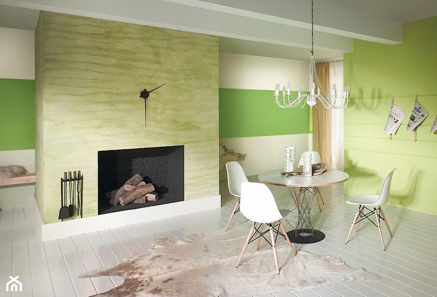 Aranżacje wnętrz - Jadalnia: Aranżacje - Średnia otwarta beżowa zielona jadalnia jako osobne pomieszczenie, styl minimalistyczny - Magnat Magia Szlachetnych Barw. Przeglądaj, dodawaj i zapisuj najlepsze zdjęcia, pomysły i inspiracje designerskie. W bazie mamy już prawie milion fotografii!
