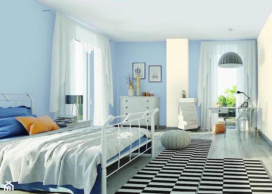 Aranżacje średnia Biała Niebieska Sypialnia Małżeńska