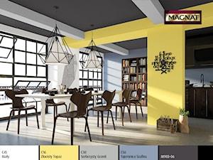 Aranżacje - Duża otwarta biała niebieska żółta jadalnia jako osobne pomieszczenie, styl eklektyczny - zdjęcie od Magnat Magia Szlachetnych Barw