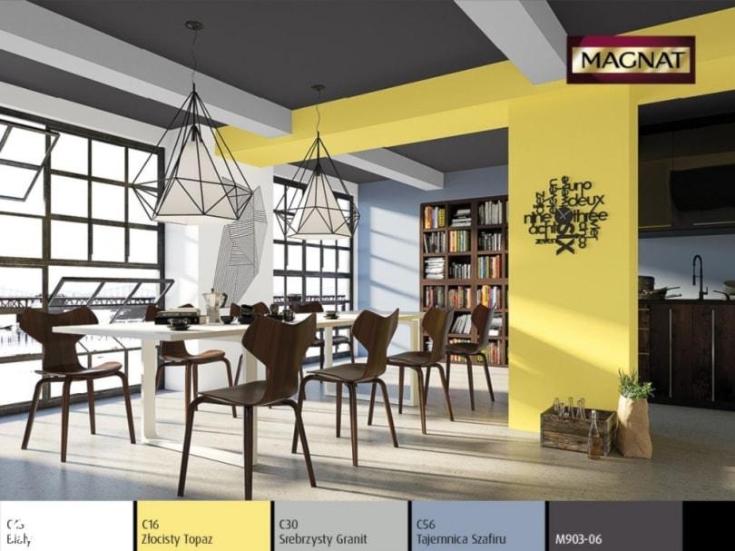 Aranżacje wnętrz - Jadalnia: Aranżacje - Duża otwarta biała niebieska żółta jadalnia jako osobne pomieszczenie, styl eklektyczny - Magnat Magia Szlachetnych Barw. Przeglądaj, dodawaj i zapisuj najlepsze zdjęcia, pomysły i inspiracje designerskie. W bazie mamy już prawie milion fotografii!