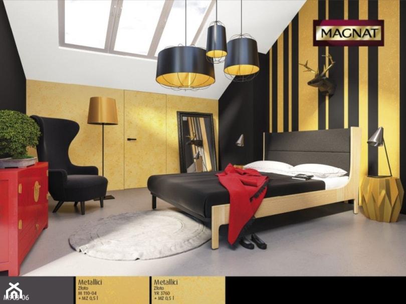 Aranżacje wnętrz - Sypialnia: Aranżacje - Średnia kolorowa sypialnia dla gości na poddaszu - Magnat Magia Szlachetnych Barw. Przeglądaj, dodawaj i zapisuj najlepsze zdjęcia, pomysły i inspiracje designerskie. W bazie mamy już prawie milion fotografii!