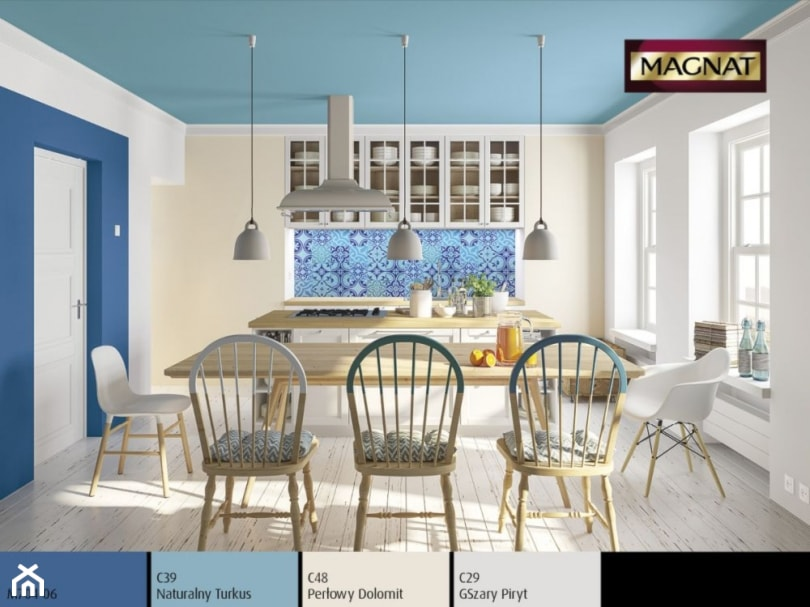 Aranżacje wnętrz - Jadalnia: Aranżacje - Średnia zamknięta biała beżowa niebieska jadalnia w kuchni - Magnat Magia Szlachetnych Barw. Przeglądaj, dodawaj i zapisuj najlepsze zdjęcia, pomysły i inspiracje designerskie. W bazie mamy już prawie milion fotografii!