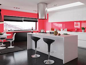 Aranżacje - Średnia zamknięta czerwona kuchnia jednorzędowa z wyspą z oknem, styl nowoczesny - zdjęcie od Magnat Magia Szlachetnych Barw