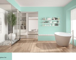 Aranżacje - Duża szara zielona łazienka w bloku w domu jednorodzinnym z oknem, styl nowoczesny - zdjęcie od Magnat Magia Szlachetnych Barw