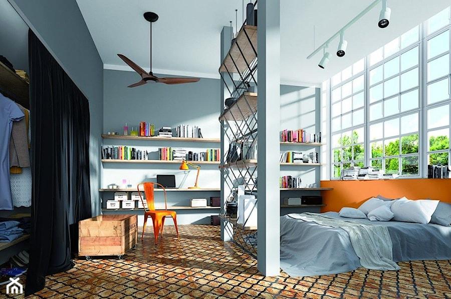 Aranżacje wnętrz - Sypialnia: Aranżacje - Średnia szara pomarańczowa sypialnia małżeńska, styl eklektyczny - Magnat Magia Szlachetnych Barw. Przeglądaj, dodawaj i zapisuj najlepsze zdjęcia, pomysły i inspiracje designerskie. W bazie mamy już prawie milion fotografii!