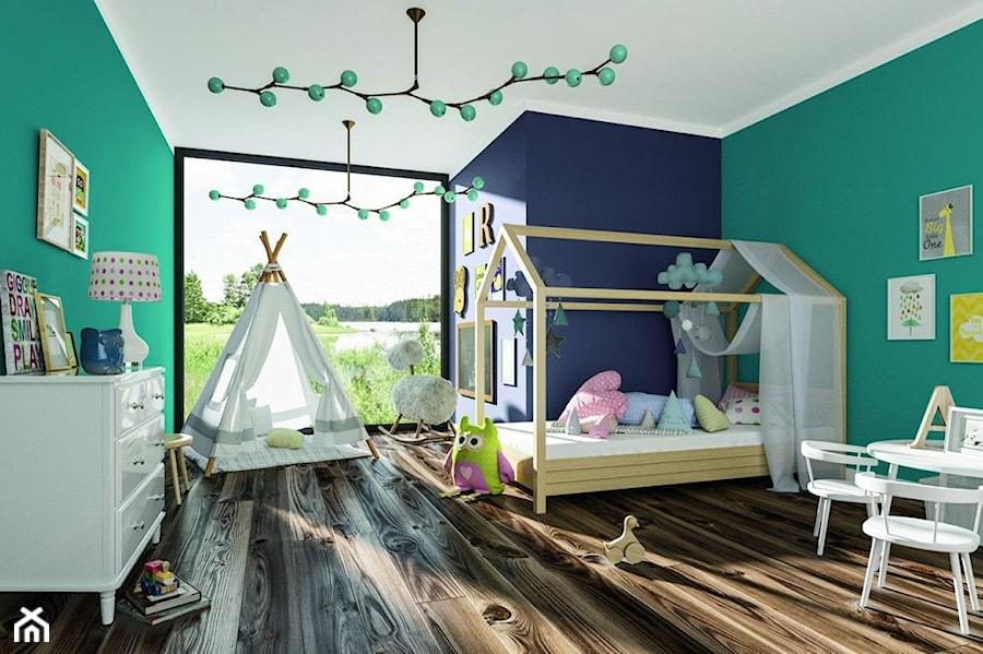Aranżacje wnętrz - Pokój dziecka: Aranżacje - Duży niebieski zielony pokój dziecka dla chłopca dla dziewczynki dla ucznia dla malucha, styl eklektyczny - Magnat Magia Szlachetnych Barw. Przeglądaj, dodawaj i zapisuj najlepsze zdjęcia, pomysły i inspiracje designerskie. W bazie mamy już prawie milion fotografii!