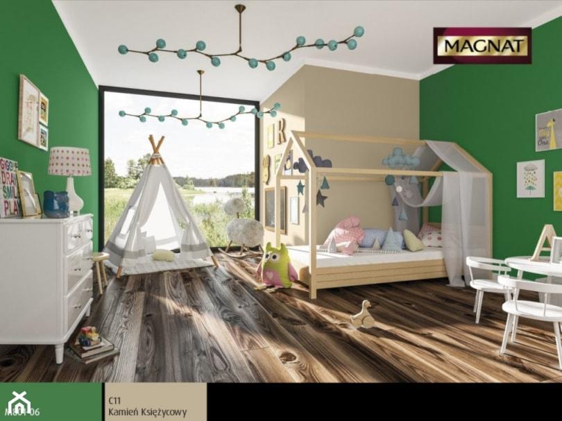 Aranżacje wnętrz - Pokój dziecka: Aranżacje - Średni beżowy zielony pokój dziecka dla dziewczynki dla malucha - Magnat Magia Szlachetnych Barw. Przeglądaj, dodawaj i zapisuj najlepsze zdjęcia, pomysły i inspiracje designerskie. W bazie mamy już prawie milion fotografii!
