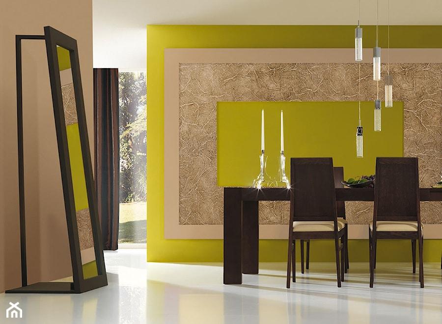 Aranżacje wnętrz - Jadalnia: Aranżacje - Średnia otwarta szara zielona jadalnia jako osobne pomieszczenie - Magnat Magia Szlachetnych Barw. Przeglądaj, dodawaj i zapisuj najlepsze zdjęcia, pomysły i inspiracje designerskie. W bazie mamy już prawie milion fotografii!