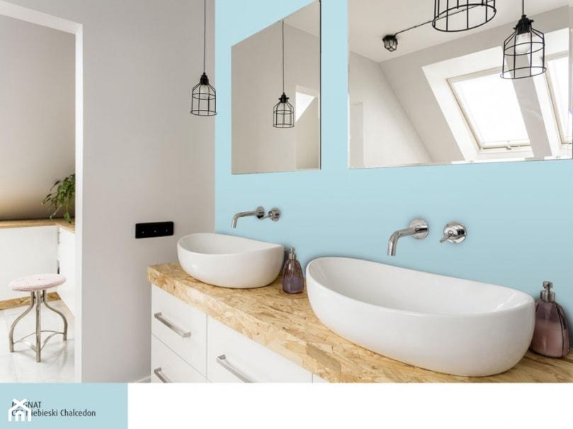 Aranżacje wnętrz - Łazienka: Aranżacje - Średnia niebieska szara łazienka na poddaszu w bloku w domu jednorodzinnym z oknem, styl eklektyczny - Magnat Magia Szlachetnych Barw. Przeglądaj, dodawaj i zapisuj najlepsze zdjęcia, pomysły i inspiracje designerskie. W bazie mamy już prawie milion fotografii!
