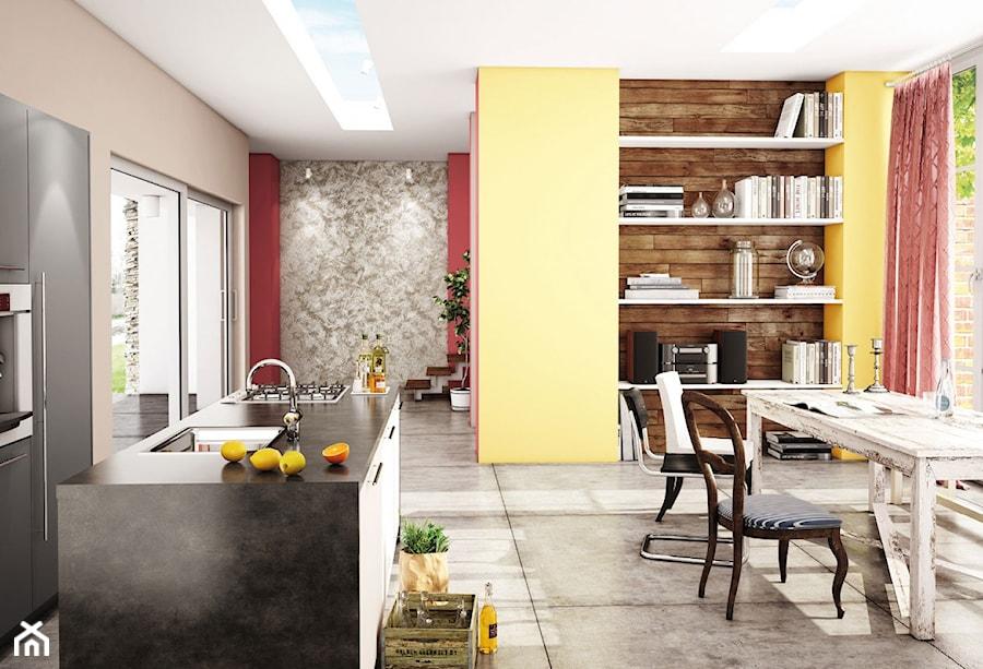 Aranżacje wnętrz - Kuchnia: Aranżacje - Średnia otwarta szara żółta kuchnia jednorzędowa z wyspą z oknem, styl eklektyczny - Magnat Magia Szlachetnych Barw. Przeglądaj, dodawaj i zapisuj najlepsze zdjęcia, pomysły i inspiracje designerskie. W bazie mamy już prawie milion fotografii!