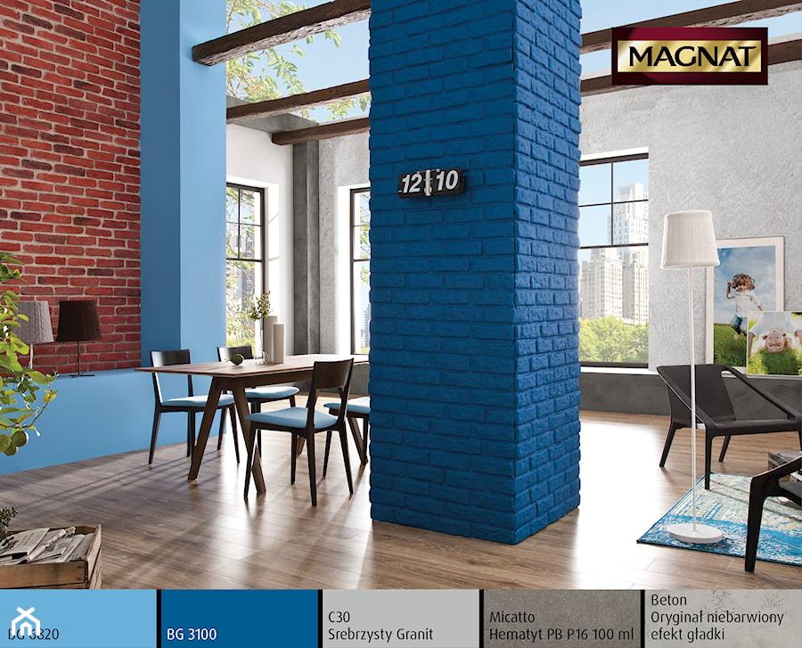 Aranżacje wnętrz - Salon: Aranżacje - Średni szary niebieski brązowy salon z jadalnią - Magnat Magia Szlachetnych Barw. Przeglądaj, dodawaj i zapisuj najlepsze zdjęcia, pomysły i inspiracje designerskie. W bazie mamy już prawie milion fotografii!