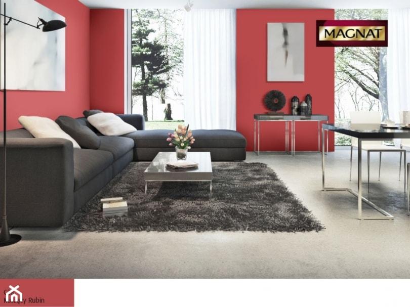 Aranżacje - Średni czerwony salon z jadalnią, styl nowoczesny - zdjęcie od Magnat Magia Szlachetnych Barw