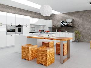 Aranżacje - Duża otwarta biała szara kuchnia dwurzędowa w aneksie z wyspą, styl eklektyczny - zdjęcie od Magnat Magia Szlachetnych Barw