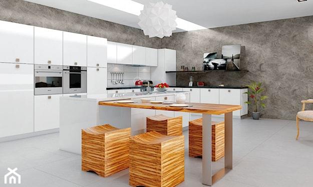 beton na ścianie, nowoczesna kuchnia, szara kuchnia