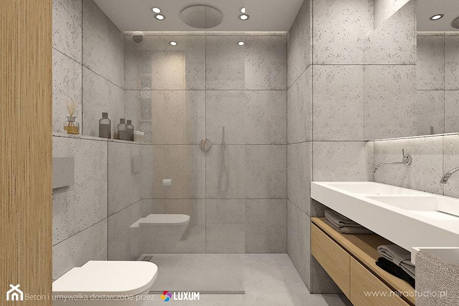 Nowoczesna łazienka - minimalistyczna aranżacja z betonem architektonicznym i umywalką podwójną ...