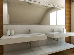 Dwie umywalki z odpływami liniowymi i praktycznym blatem.