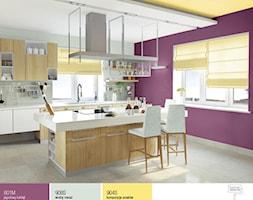 Aranżacje - Średnia zamknięta szara fioletowa jadalnia w kuchni - zdjęcie od Śnieżka
