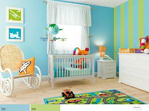 Aranżacje - Średni niebieski zielony pokój dziecka dla chłopca dla malucha - zdjęcie od Śnieżka