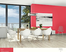 Wisienka na torcie. - Duża otwarta czerwona jadalnia jako osobne pomieszczenie, styl nowoczesny - zdjęcie od Śnieżka