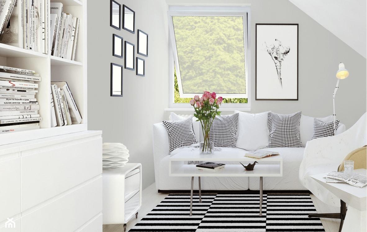 białe meble i szare ściany