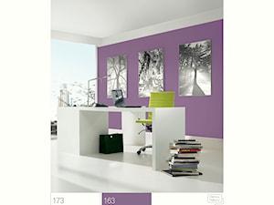 Aranżacje - Średnie fioletowe białe biuro pracownia - zdjęcie od Śnieżka