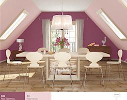 Aranżacje - Średnia zamknięta różowa fioletowa jadalnia jako osobne pomieszczenie - zdjęcie od Śnieżka
