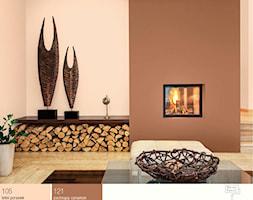 Salon w jesiennej tonacji. - Mały brązowy różowy salon, styl kolonialny - zdjęcie od Śnieżka