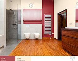 Wisienka na torcie. - Średnia beżowa czerwona łazienka w bloku w domu jednorodzinnym bez okna, styl nowoczesny - zdjęcie od Śnieżka